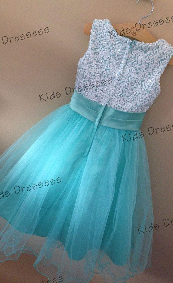 Flower Girl Dress Aqua Sequin Double Mesh Flower by kidsdresses, $40.00