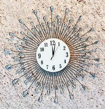 "Oversized Rain Crystal Droplets Contemporary Style Metal Wall Clock Decor 27""Dia"