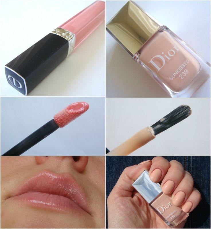 Летний дуэт от Dior: лак для ногтей в оттенке 239 Sunkissed и блеск-бальзам Rouge Dior Brillant в оттенке 468 Bonheur