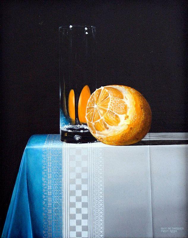 Schilderij stilleven - Guy de Jaegher - Sinaasappel met glas - Olieverf op paneel - 25 x 20 cm. -