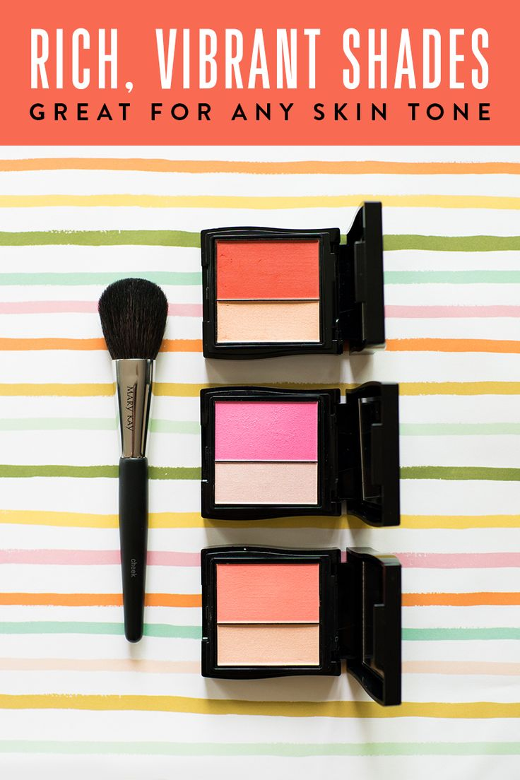 Sweep on happy cheeks this summer with Mineral Cheek Color Duo in Spiced Poppy, Ripe Watermelon and Juicy Guava. Makeup tip: Brush highlighter across upper cheekbones to make cheeks pop even more! | May Kay