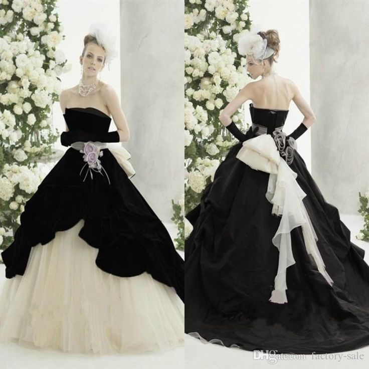 Abiti Da Sposa Gothic Black White Wedding Dresses 2017 A Line Strapless Long Tulle Bridal Wedding Gowns With Flower Vestidos De Novia Online Wedding Dresses Petite Wedding Dresses From Factory Sale, $169.17| Dhgate.Com