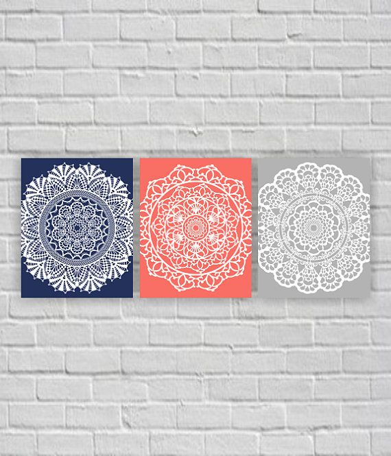 Navy Blue, Coral, Gray: Lace Doilies wall art, instant download, Printable Wall Art, Set 3-8х10 only $10
