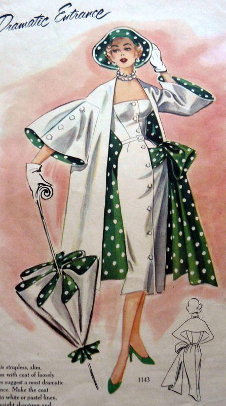 Polka Dot Dresses: 1950s Polka dot lined jacket, umbrella, hat and dress. white sheath dress outfit suit color illustration vintage fashion
