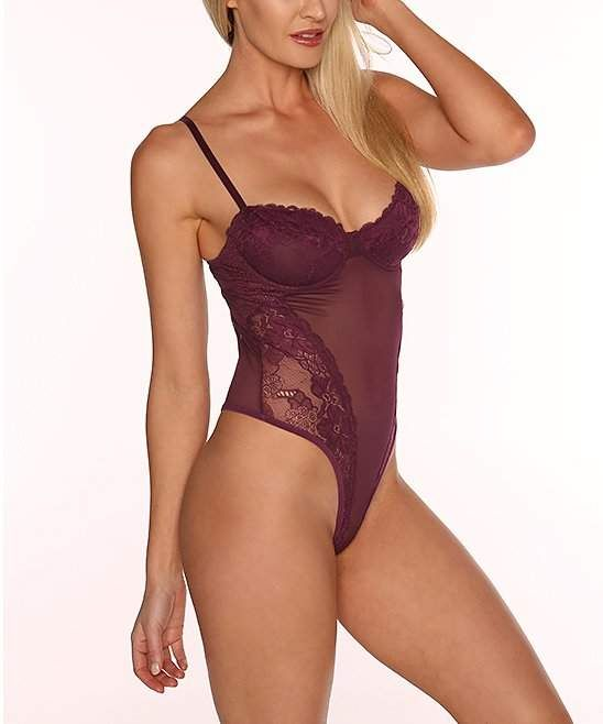 5afca2006 Plum Lace Mesh Underwire French-Cut Teddy - Women  alluring detail sheer