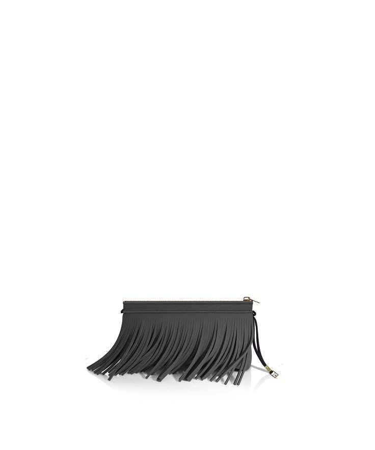 Stand out from the crowd with this fringed clutch. Tough-luxe style with attitude now comes in a range of colours.  Comes with a detachable strap.  Size  290 x 150 x 25 mm  160g  Made in Italy  Vegan Friendly  Made from Poly-Lycra Fabric   Metallic Graphite