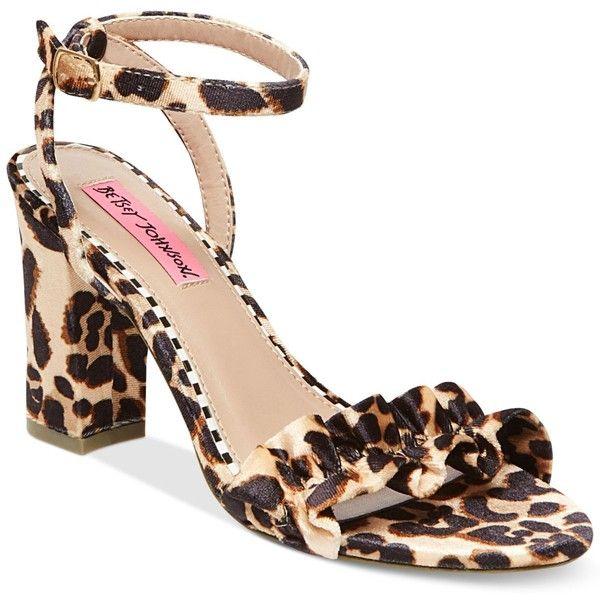Betsey Johnson Ilana Block-Heel Sandals ($69) ❤ liked on Polyvore featuring shoes, sandals, leopard velvet, going out shoes, block heel shoes, party sandals, leopard sandals and velvet sandals