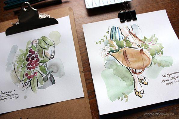 In The Garden, illustration, Anna Ostapowicz, #watercolour, #drawing, #summer, #lifestyle, #nature, #garden, #illustration, #fruits, #art, #bookillustration, #vegetables,