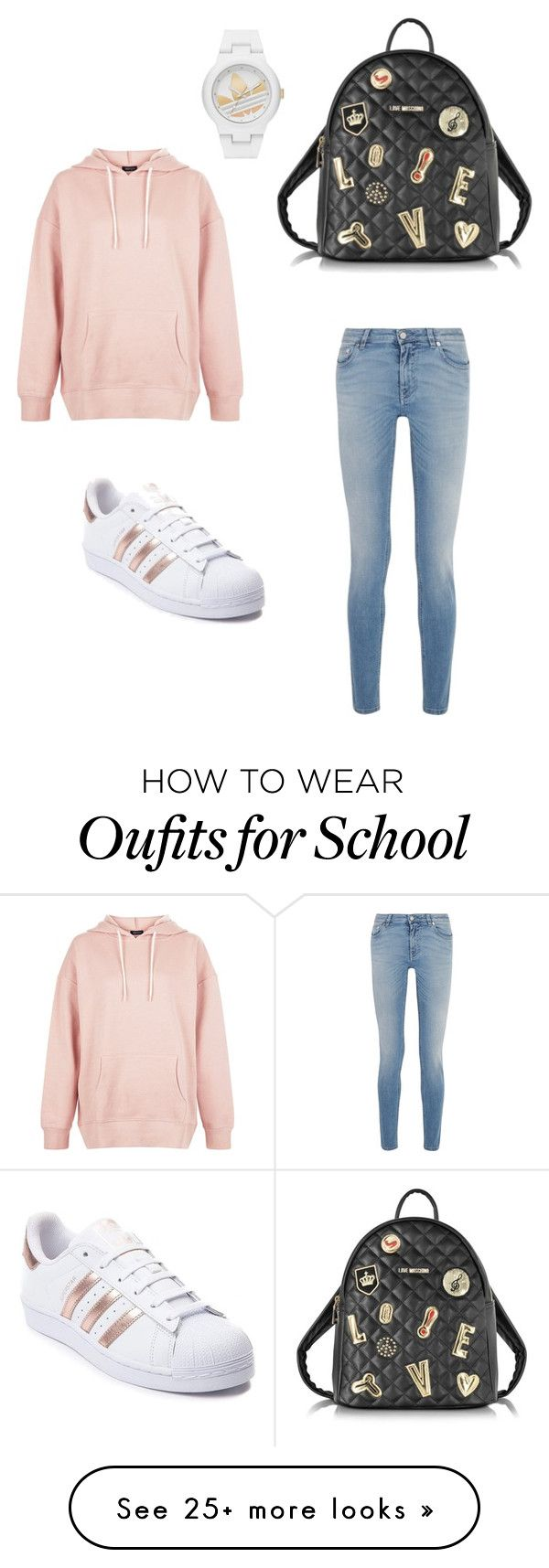 """Casual School Day"" by smsdancer2091 on Polyvore featuring New Look, Love Moschino, adidas and Givenchy"