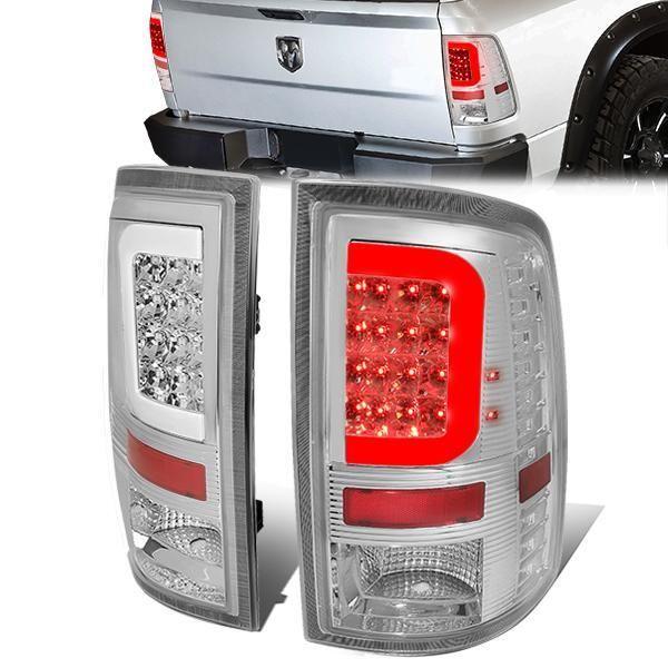 D Motoring 09 17 Dodge Ram 1500 2500 3500 Tail Lights C Shape 3d Led Chrome Housing Clear Lens Plug N Play Dodge Ram 1500 Tail Light Led Tail Lights
