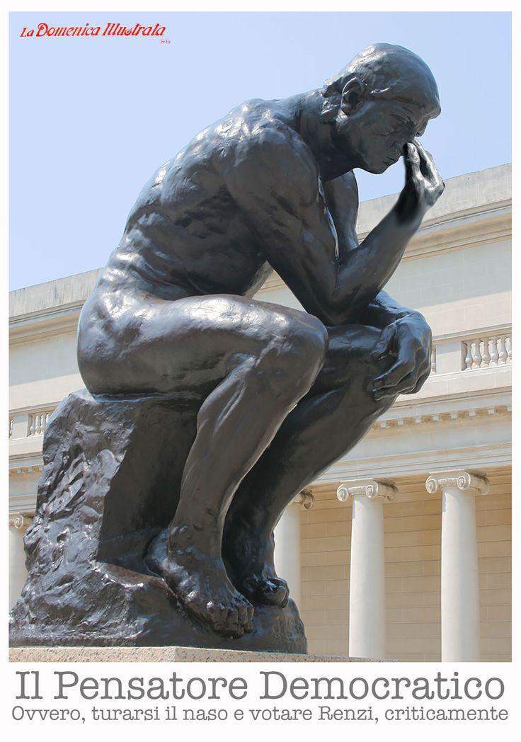 Rodin, Le penseur, Leopolda, turarsi il naso, intellettuali, Pd
