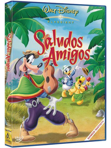 Saludos Amigos -dvd. Matkusta Perun Titicaca-järvelle Akun seurassa, ylitä Andit Pedro-lentokoneen kanssa, ratsasta Hessun kera Argentiinan pampalla sekä sambaa Brasiliassa José Cariocan mukana