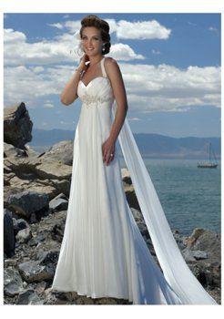A-ligne bretelles sweetheart robes de mariage de plage encolure