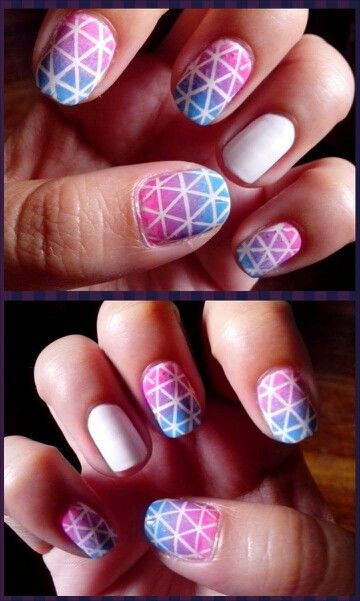iAMHAZELNUT nail art striping tape ombre triangles :) it took forever to finish this but i think it is uhmazingg