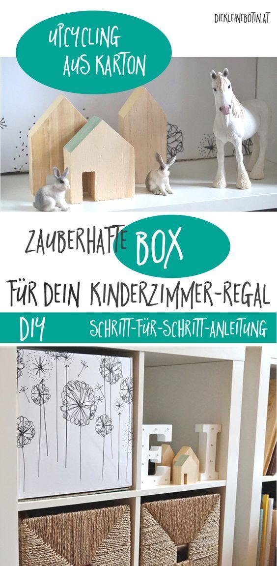 Zauberhafte DIY-Spielzeugbox fürs Kinderzimmer - einfach selbermachen! Karton-Upcycling und eine nachhaltige, umweltschonende Möglichkeit, Stauraum für Krimskrams zu schaffen! Schritt für Schritt-DIY-Anleitung mit Lillydoo-Karton!