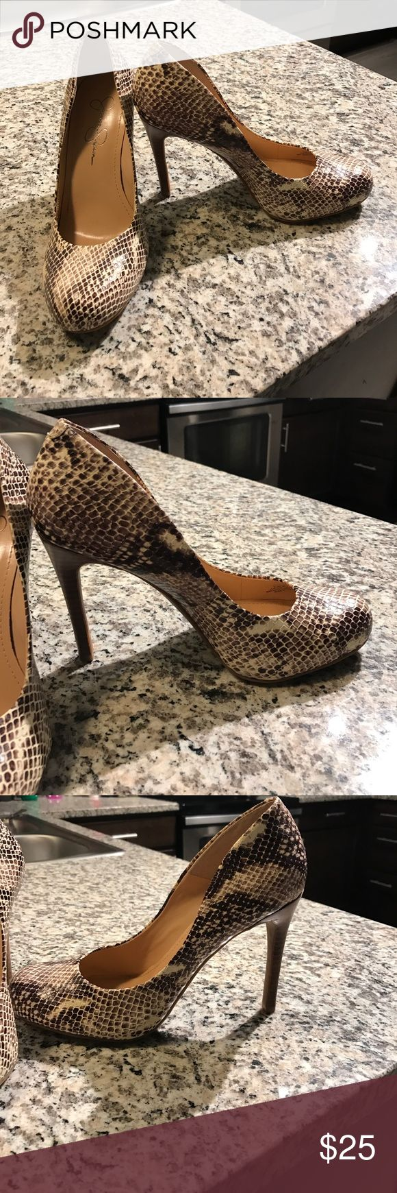Jessica Simpson Calie Pumps Never worn! Snakeskin print. Perfect height for a heel with an edgy flare. Jessica Simpson Shoes Heels