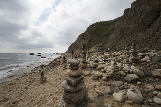 The Mohegan Bluffs stand brilliantly tall at 150 feet and are formed with natural clay. Block Island, RI