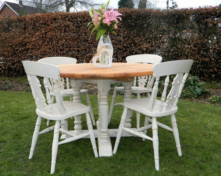 Shabby Chic Round Pine Table And Chairs