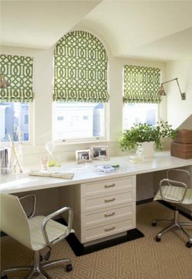 Green and white office with fabulous roman shades. #whiteofficefurniture