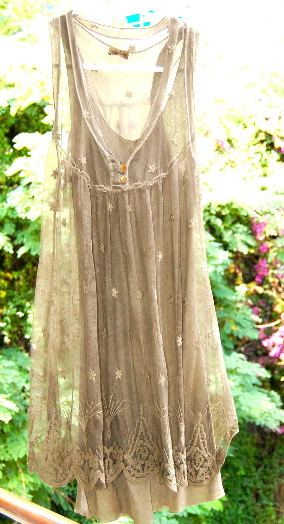 Babydoll Lace Mesh Taupe Layered Tank Tunic Dress by luxegloves