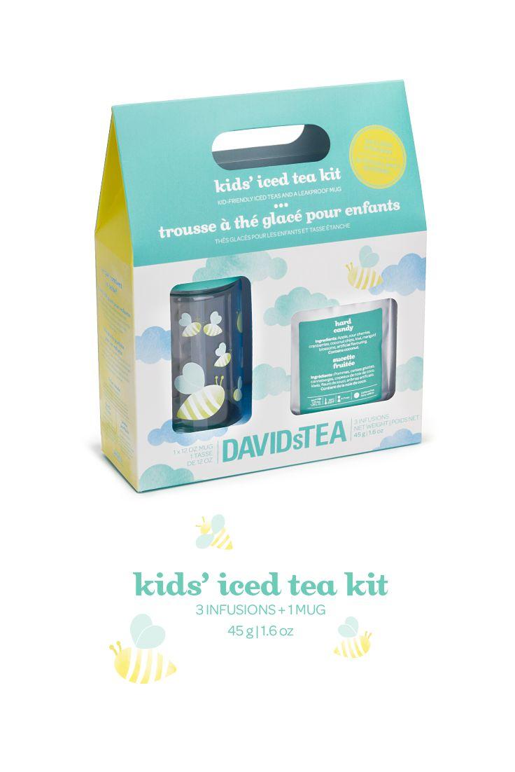 Three kid-friendly teas, a leakproof mug and stickers.