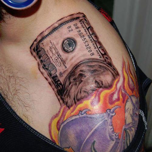 Dollar Burning Tattoo - http://16tattoo.com/dollar-burning-tattoo/