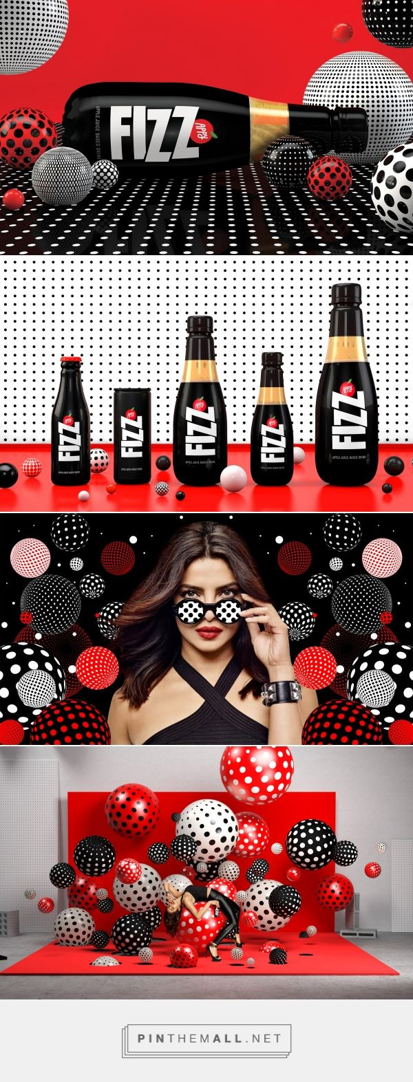Appy Fizz: Branding and packaging from Sagmeister & Walsh via Print Magazine curated by Packaging Diva PD.  New Appy Fizz identity visualizes carbonated bubbles through a dynamic graphic language of circles and dots.