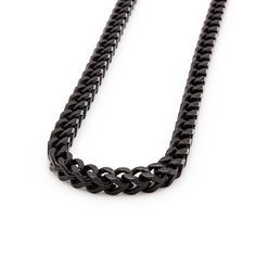 Mens 6mm Black Stainless Steel Franco Cuban Box Chain Necklace , Chains, SpicyIce - 3