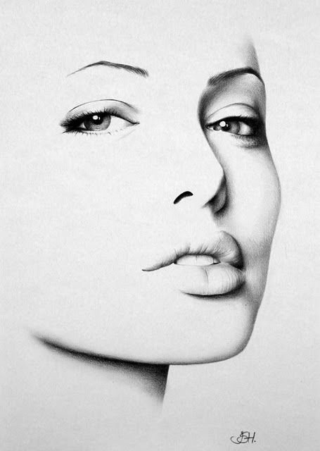 Charcoal drawing of Angelina Jolie, gorgeous lines and perception in this piece of art,