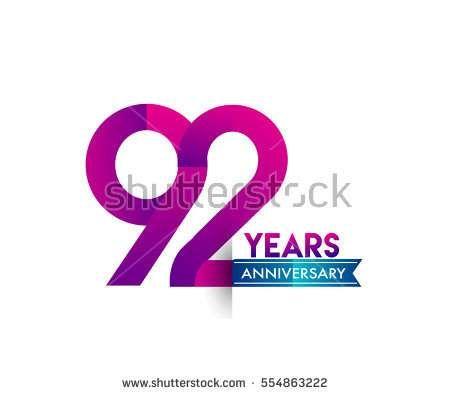 ninety two years anniversary celebration logotype colorfull design with blue ribbon, 92nd birthday logo on white background