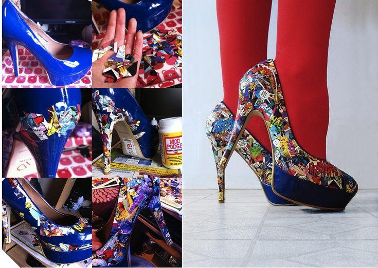 DIY colourful comic book heels