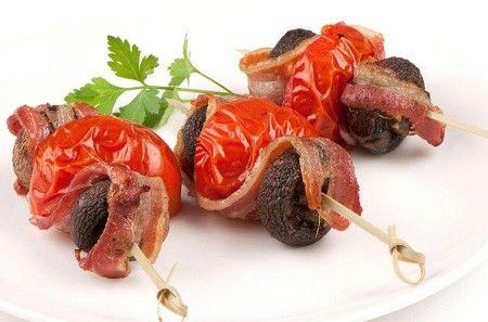 Tomato, mushroom and bacon kebabs  #NewZealand #vegetable #recipes