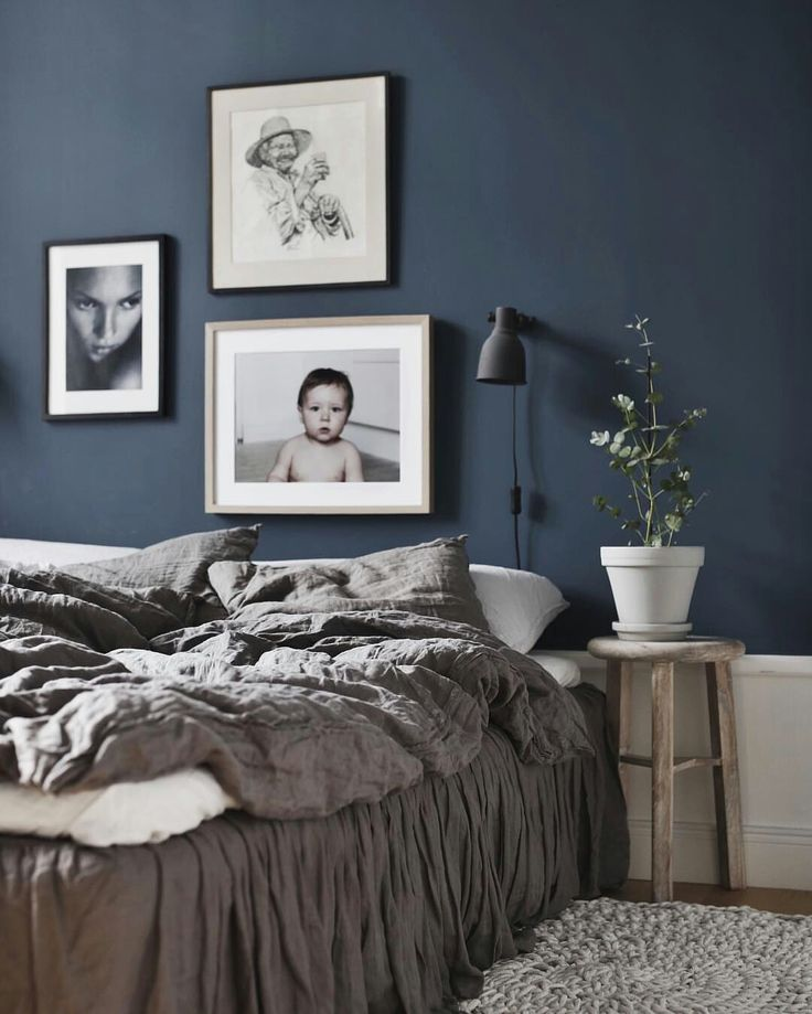 The 25 best dark blue bedrooms ideas on pinterest blue for Master bedroom paint color ideas with dark furniture