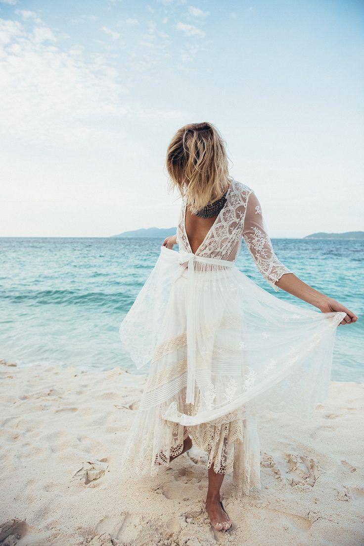 Boho lace wedding dress for Boho beach Bride