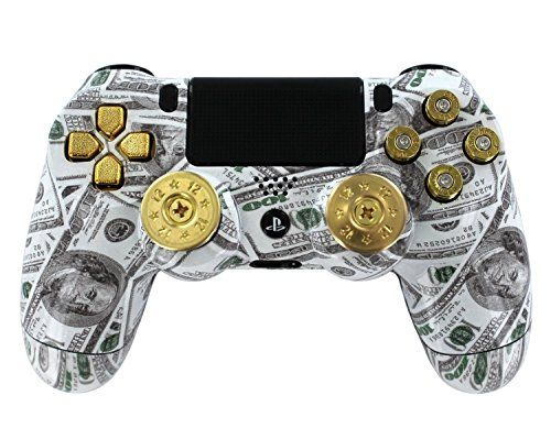 """Money Bullets"" Ps4 Custom UN-MODDED Controller Real Shot Gun Thumbsticks and 9mm Bullet Buttons Exclusive Design  http://www.cheapgamesshop.com/money-bullets-ps4-custom-un-modded-controller-real-shot-gun-thumbsticks-and-9mm-bullet-buttons-exclusive-design/"