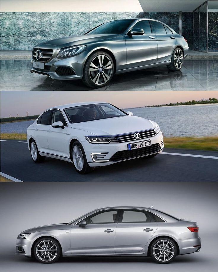 Die beliebtesten Mittelklassewagen in Deutschland, Stand Juli 2017: Platz 1: Mercedes-Benz C-Klasse Platz 2: VW Passat Platz 3: Audi A4, S4, RS4