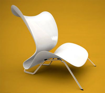 Designer Sebastian Gronemeyer took inspiration from the delicate forms of orchid leaves to create this unnamed chair. The smooth organic curves are actually quite ergonomic. Both the seat and backrest slightly flex to really mount you in when you sit. Tho thin, the reinforced fiberglass material is plenty strong. They're supported by tubular steel rods mounted on rubber shocks for extra comfort.