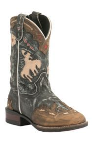 Dan Post Kids Distressed Blue with Bronco Inlay Wingtip Square Toe Western Boots | Cavender's