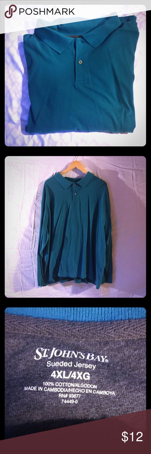 "Men's long sleeve polo 4XL NWOT 4XL men's deep teal long sleeve polo. 100% cotton sueded jersey super soft and comfortable. Never worn. Measures pit to pit 31"", rear collar to hem 29"". Smoke free home. No trades. Reasonable offers welcome. St John's Bay Shirts Polos"