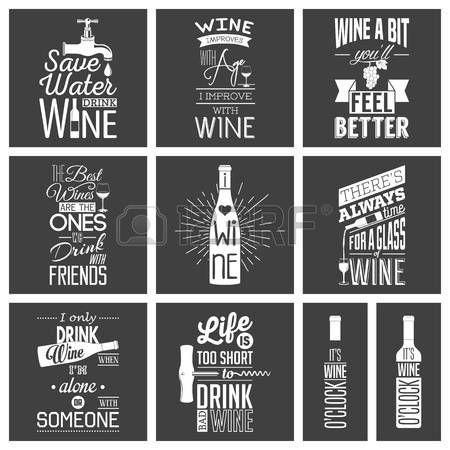 verre vin blanc: Ensemble de vin millésime citations typographiques.