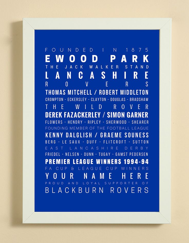 Blackburn Rovers Football Club Word Art Design Print - Words, Names And Facts Associated With Blackburn Rovers FC - In White Or Black A4 Box Frame
