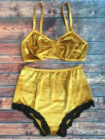 High Waisted Lace Hem Velvet Bra Suit 3