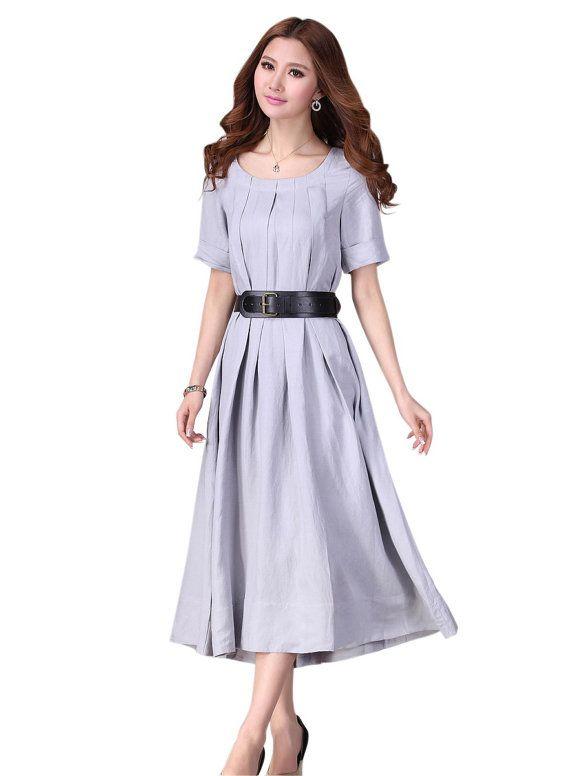 Grey  dress women dress Linen dress Long dress by fashiondress6, $59.50