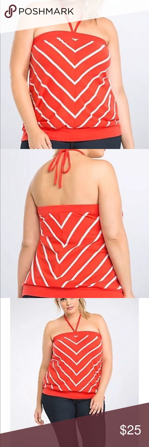 """NWT Torrid Striped Tube Top It's a cruel summer; don't be left on your own without a tube top! Cut with a breezy red knit and lined with eye-catching white stripes, the style can be tied into a makeshift halter; either way, your shoulders will stay sunkissed.  Model is 5'10"""", size 1 Size 1 measures 21 1/2' from center frontCottonWash cold, dry lowImported plus size top torrid Tops"""