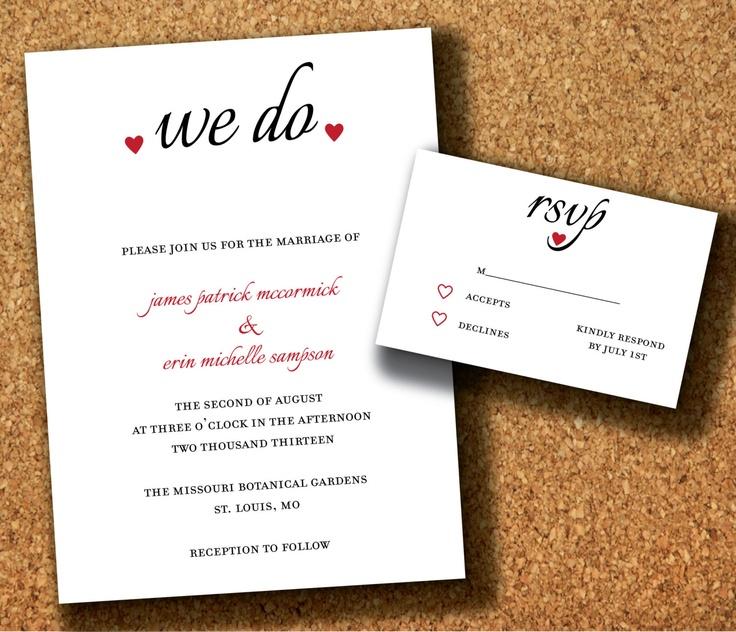 Wedding Invitation We Do With Hearts DIY Print Yourself