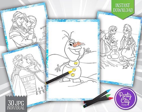 30 Frozen Coloring Pages Clipart Printable - Disney Frozen - Birthday, Invitation, Party, Elsa, Anna, Sven, Kristoff, Olaf, Hans
