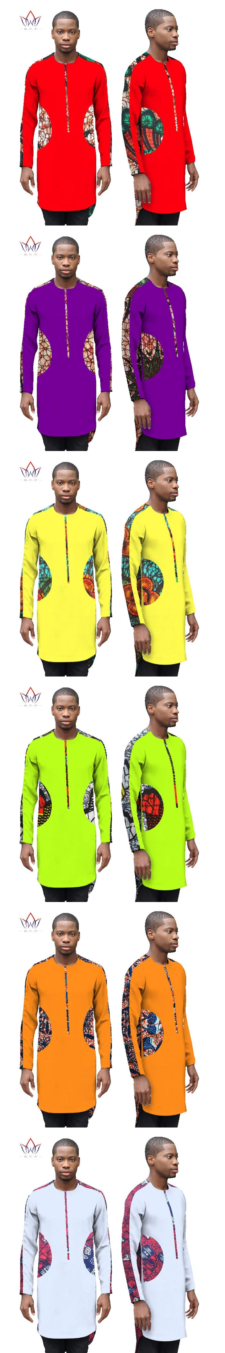 2017 New Autumn Male Shirt Men Shirt Long Sleeve Dashiki African Printed Men Shirts Long Shirt Mens African Clothing 6XL WYN299