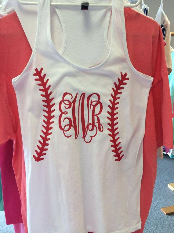 Monogrammed Baseball Tank by SewCute4YouKy on Etsy