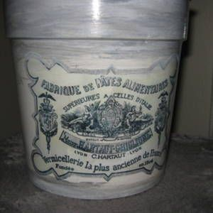 Cache-pot, poubelle à papiers, vase, création vintage / shabby