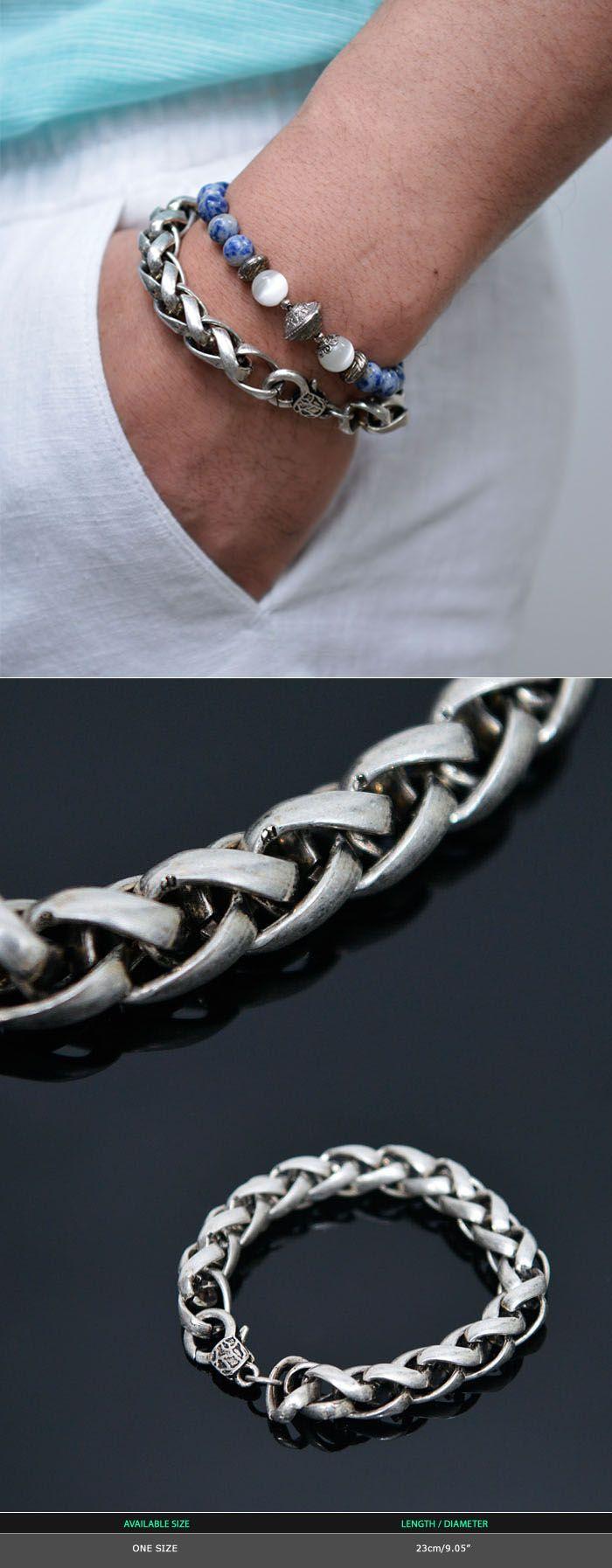 Antique Matt Silver Chain Cuff-Bracelet 350 by Guylook.com